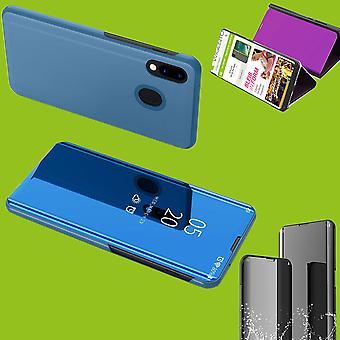 Für Samsung Galaxy M20 6.3 Zoll Clear View Spiegel Mirror Smartcover Blau Schutzhülle Cover Etui Tasche Hülle Neu Case Wake UP Funktion