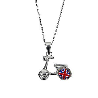 Toc Sterling Silver Union Jack Motorbike Pendant on 18 Inch Chain