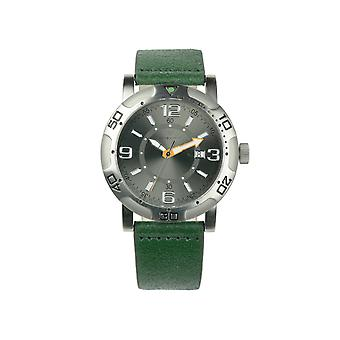 Redshift 7 Galaxy Grained Leather-Band Watch w/Date - Green/Black