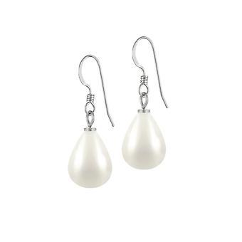 Eterna colección Raindrop Midi cáscara blanca perla tono plata gota perforado pendientes