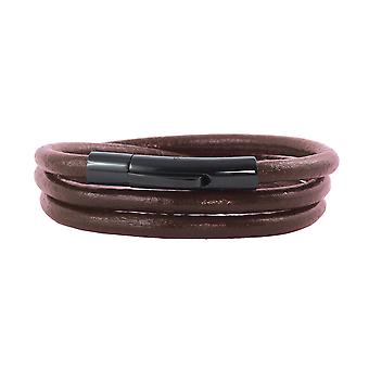 Lederen ketting lederen band 4 mm heren ketting bruin 17-100 cm lang met hendel print gesp zwart ronde