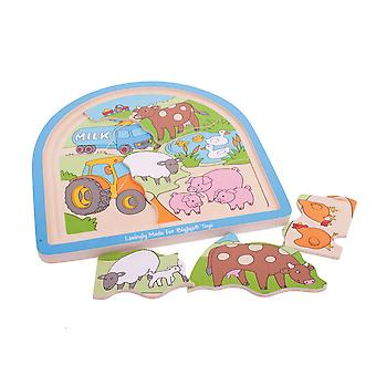 Bigjigs Toys Chunky Wooden Farm Arched Puzzle Educational Child Jigsaw