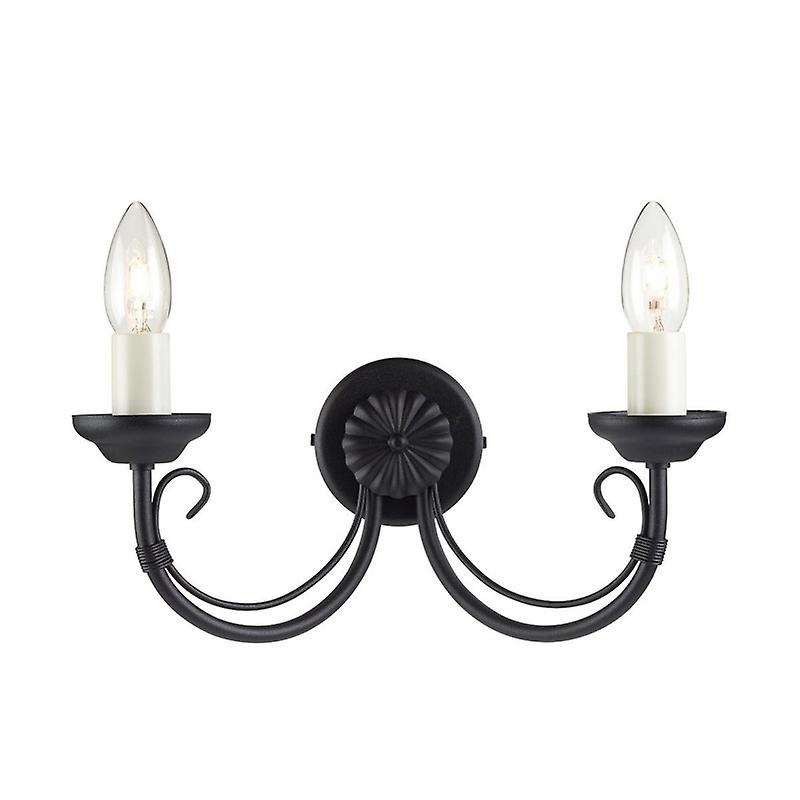 2 Light Indoor Wall Light noir