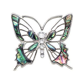 Wieczne kolekcji Jardin Paua powłoki srebrnej tonacji motyl Broszka