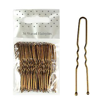 Molly & Rose Bronze Waved Hair Pins 36 Pack