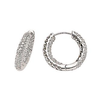 Jewelco London Rhodium Plated Sterling Silver Round Brilliant Cubic Zirconia Huggie Hoop Earrings 1.5cm
