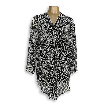 Susan Graver Femmes-apos;s Pull XXS Imprimé Crinkle Chiffon Cardigan Noir A276435