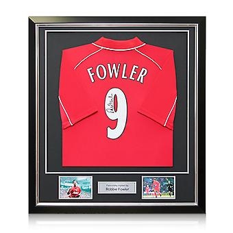 Robbie Fowler Back Signed 2001 Liverpool Shirt In Deluxe Black Frame With Silver Inlay