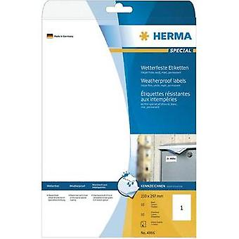 Herma 4866 Labels (A4) 210 x 297 mm Film White 10 pc(s) Permanent All-purpose labels, Weatherproof labels Inkjet