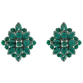 Clip On Earrings Store Starburst Emerald Green Swarovski Crystal Flower Clip On