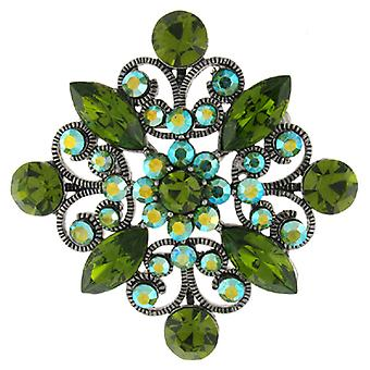 Broches Winkel Vintage Emerald en AB Swarovski Crystal filigraan Diamond Brooch