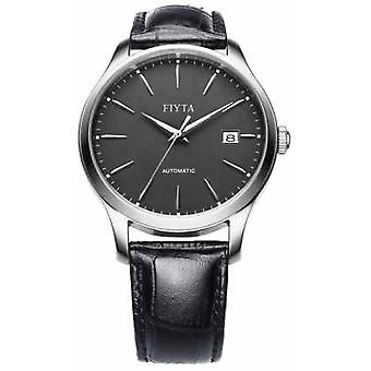 FIYTA Mens Black Leather Strap Grey Dial WGA1010.WHB Watch