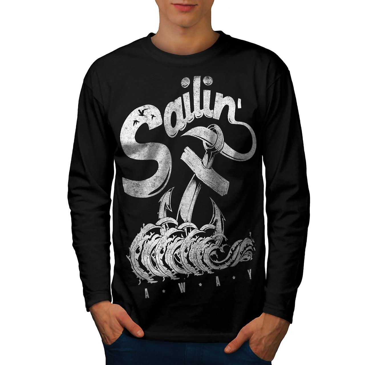 Sailin Away Navy Vintage Men Black Long Sleeve T-shirt | Wellcoda