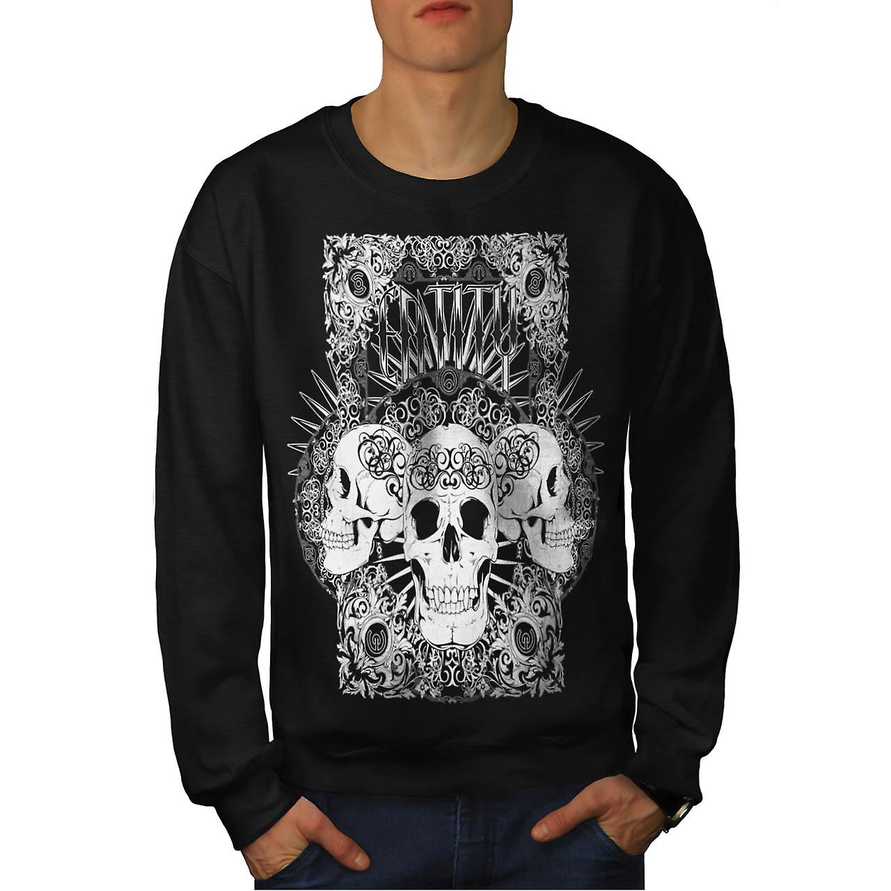 Entity Monster Skull Grave Yard Men Black Sweatshirt | Wellcoda