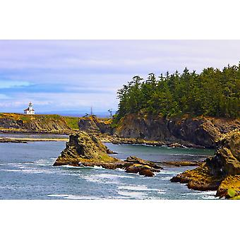 Cape Arago Lighthouse At Shore Acres State Park At Coos Bay Charleston Oregon United States of America PosterPrint