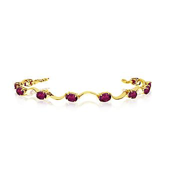 10K Yellow Gold Oval Ruby Curved Bar Bracelet