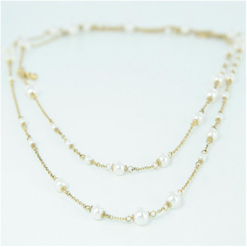 Skagen ladies chain necklace stainless steel beads double wrap gold JNSG035