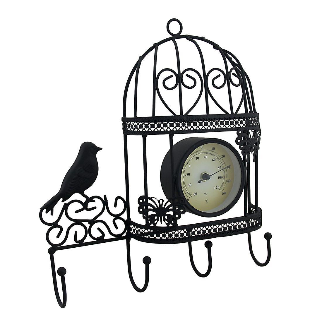 Termometro da parete in metallo Birdcage e gancio a muro decorativo