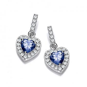 Cavendish French So Cute Mini Sapphire CZ Drop Heart Earrings