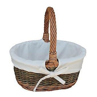 White Lined Country Oval Wicker Shopping Basket
