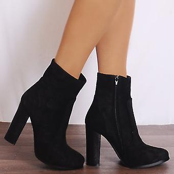 Shoe Closet Suede Ankle Boots - Ladies Dn8 Black  Faux Suede High Heels Ankle Boots