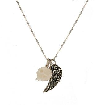 W.A.T Sterling Silver Angel Wing, Cross And Skull Charm Necklace