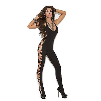 Vivace EM-8914 Deep V opaque bodystocking with cut out side detail