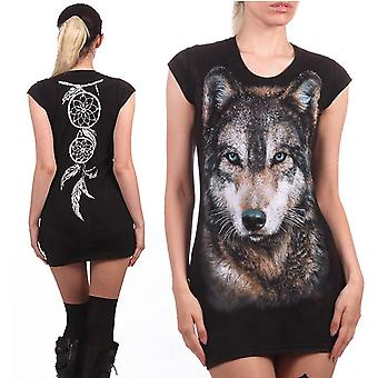 Wild star hearts - forest wolf - womens tunic dress