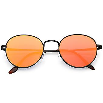 Classic Full Metal Round Sunglasses Slim Temple Color Mirrored Flat Lens 53mm