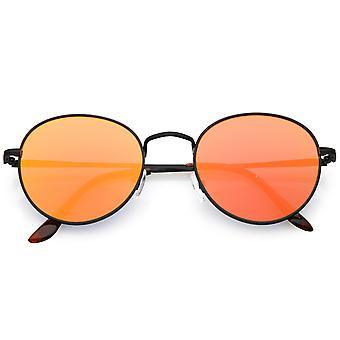 Klassiske Full Metal runde solbriller Slim tempel farve spejlede flad linse 53mm