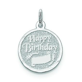 Sterling Silver Solid Faceted Polished Engravable Sparkle-Cut Happy Birthday Disc Charm - 1.0 Grams