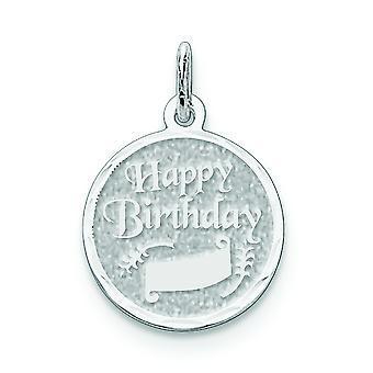 Sterling Silber Solid facettierten poliert Schlossdrücker Sparkle-Cut Happy Birthday Disc Charme - 1,0 Gramm