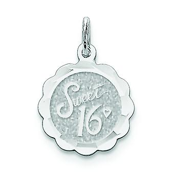 Sterling Silver solide Faceted Engravable Sweet Sixteen Disc Charm -.9 gram