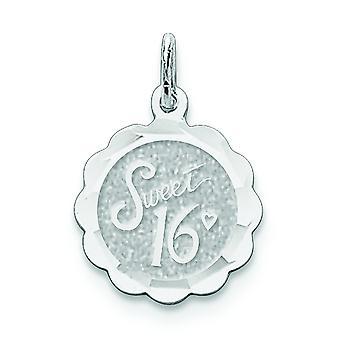 Sterling sølv Solid facetteret Engravable sød seksten Disc charme -.9 gram