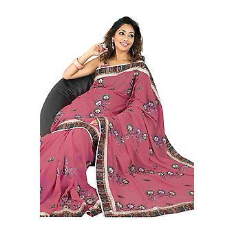 Bhagirathi Fancy festival slid designer Georgette Sari saree