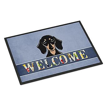 Smooth Black and Tan Dachshund Welcome Indoor or Outdoor Mat 18x27