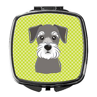 Carolines Treasures  BB1268SCM Checkerboard Lime Green Schnauzer Compact Mirror