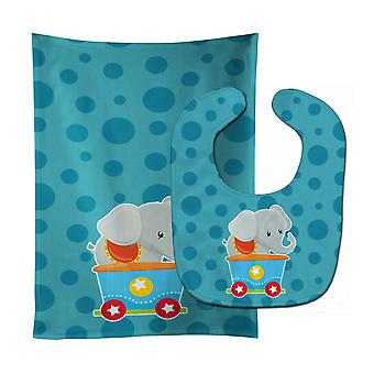 Carolines Treasures  BB8709STBU Circus Elephant Train Car Baby Bib & Burp Cloth