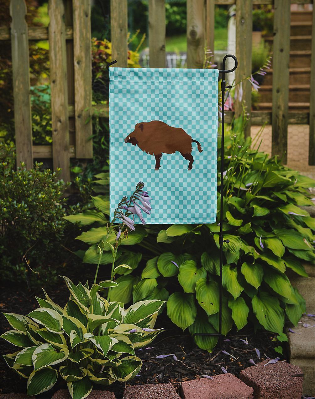 Carolines Treasures BB8110GF Wild Boar Pig Blue Check Flag Garden Size