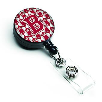 Letter B Football Crimson, grey and white Retractable Badge Reel