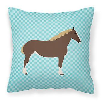Percheron caballo azul cheque tejido decorativo de la almohadilla