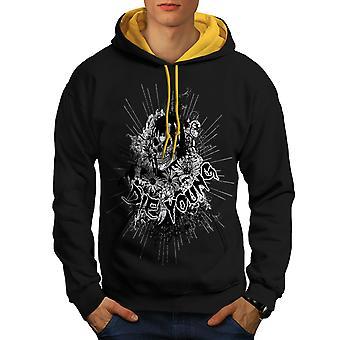 Dør unge blomst Skull menn svart (gull Hood) kontrast Hettegenser   Wellcoda