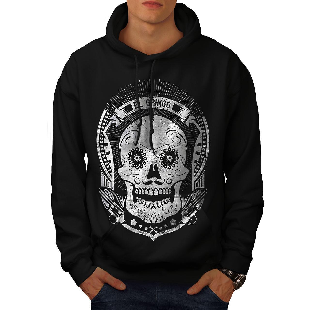 Mexican Skull Death Men Black Hoodie | Wellcoda