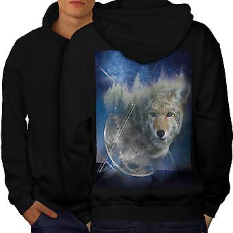 Wolf Moon Beast Men BlackHoodie Back   Wellcoda