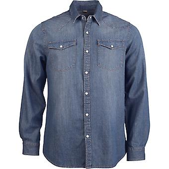 Kariban Mens Long Sleeve Casual Denim Shirt