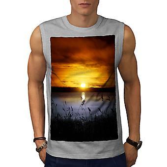 Landscape Lake Sun Men GreySleeveless T-shirt   Wellcoda