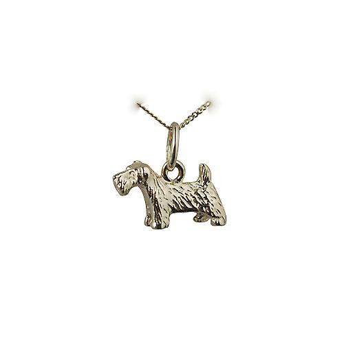9ct Gold 8x13mm Scottie Dog Pendant with a curb Chain 18 inches