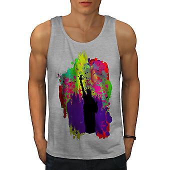 Colourful Liberty Art USA Men GreyTank Top | Wellcoda