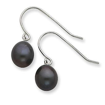 925 Sterling Silver Oval Style Black Freshwater Cultured Pearl Dangle Earrings
