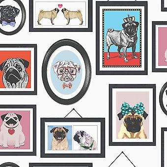 Holden Decor Pugs in Frames Dogs Canine Animals Photo's Wallpaper